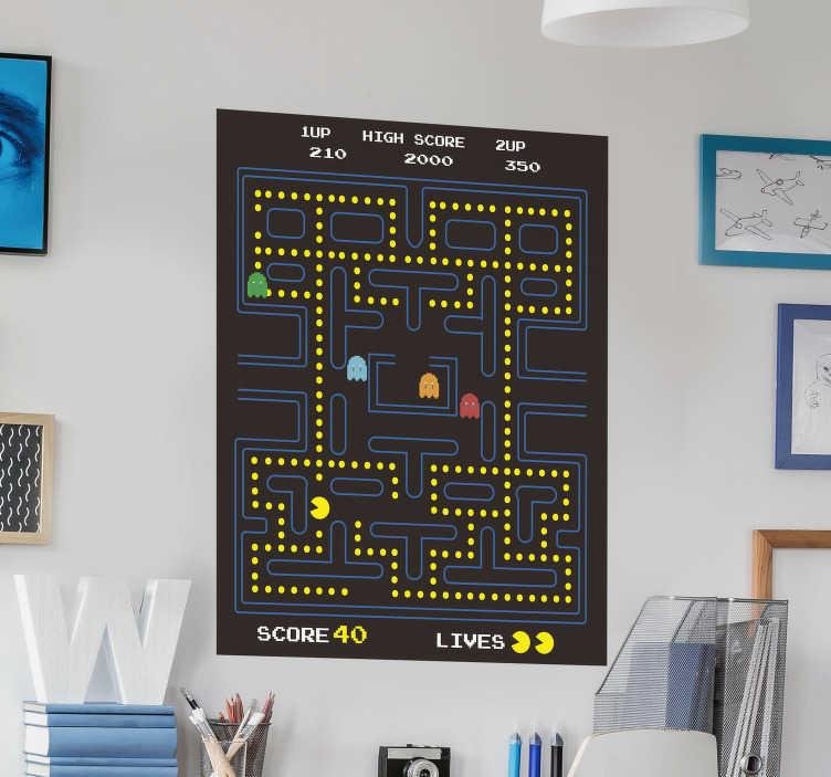 TENSTICKERS. パックマンビデオゲームウォールステッカー. パックマンビデオゲームの装飾壁ビニールデカールを簡単に適用できます。任意の平らな壁面に適用できます。