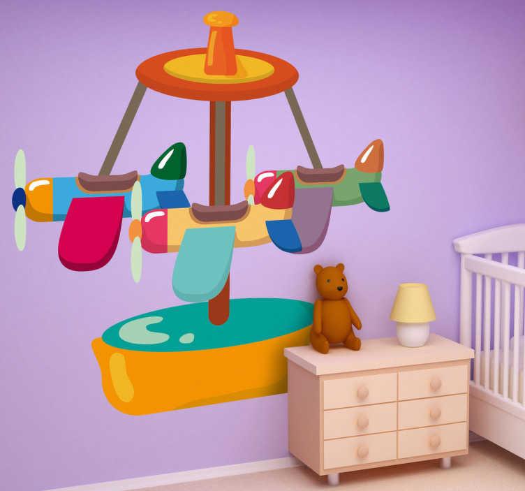 TenStickers. Sticker kinderkamer draaimolen vliegtuigen. Muursticker van een draaimolen met 3 vliegtuigjes in een kleurrijk design. Een mooie wandsticker voor het opfleuren van de kinderkamer.
