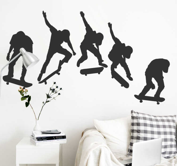 TenStickers. Skate evolution  extreme sports wall decal. Decorative teens bedroom wall decal of an extreme skating sport showing 5 people on the skate board from the leaning to the professional stage.
