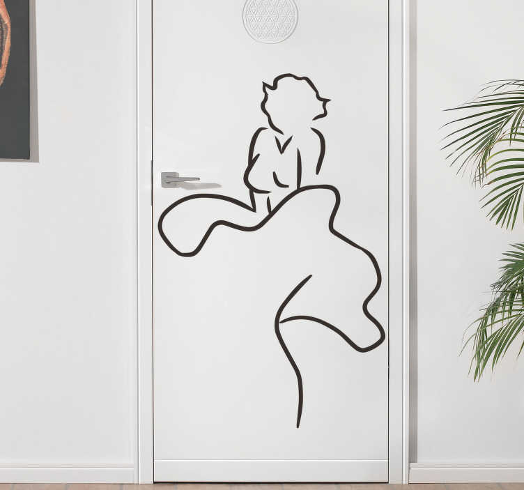 TenStickers. Marilyn glass door sticker. Easy to apply door art sticker of Marilyn that can be applied on any door surface and it can be in any colour and size of preference.