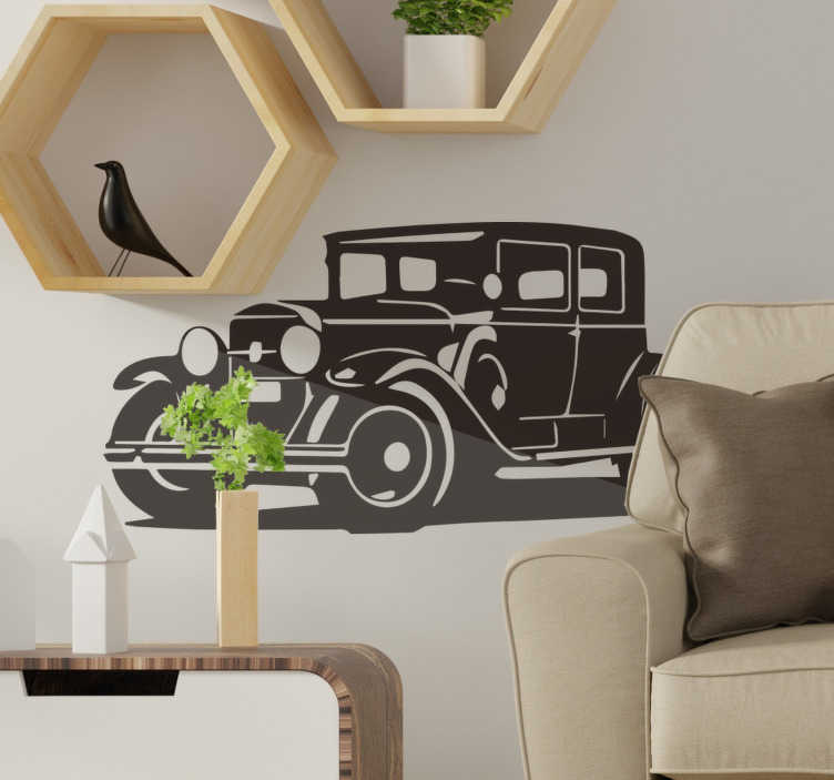 TenStickers. Vintage  Al Capone and Cadillac car decal. Decorate your wall surface at home with our vintage original wall decal of an old model type of automobile car in any colour and size you prefer.