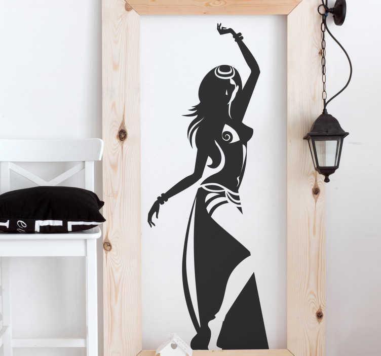 TenVinilo. Vinilo decorativo danza sensual. Adhesivo con silueta insinuante de bailarina de la danza del vientre con vestimenta tradicional para realizar este tipo de bailes.
