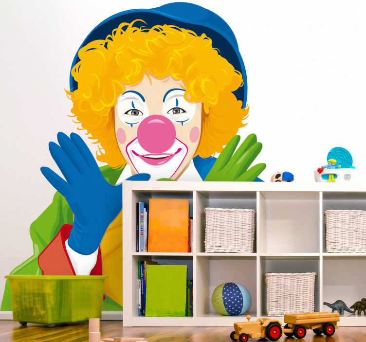TenStickers. Sticker kinderen Clown. Muursticker met de afbeelding van een clown. Is u kind dol op het circus? Dan is deze wandsticker vast iets voor in de kamer van uw kind.