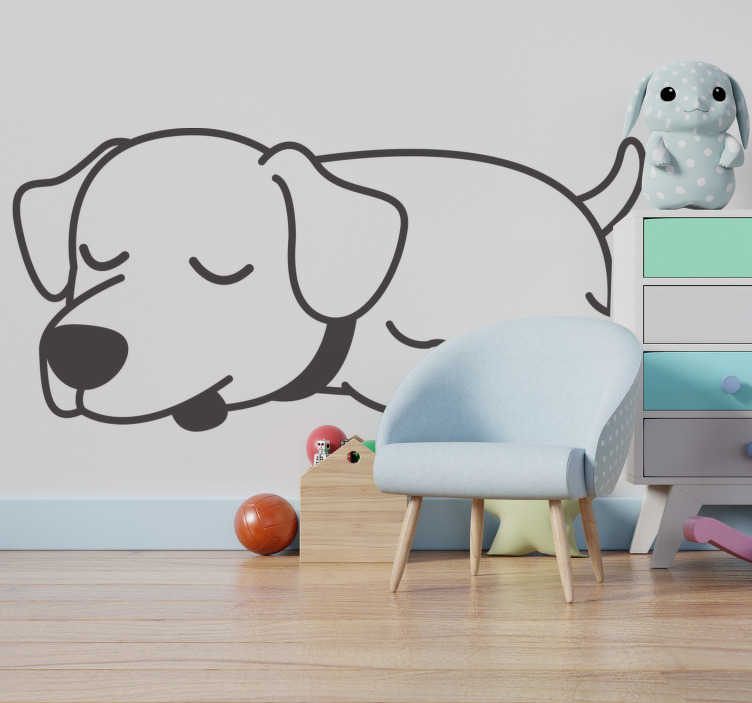 TenStickers. Dog at rest wall decor. Easy to apply kids room wall decal design of a dog having a nice rest time and every child would love it . It can be in any colour and size.