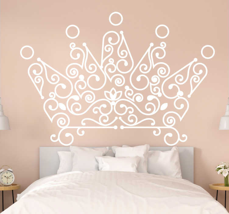 TenStickers. Crown headboard wall sticker. Easy to apply bedroom headboard wall sticker design of a crown and you can have it in any colour of your choice. choice the size you prefer.