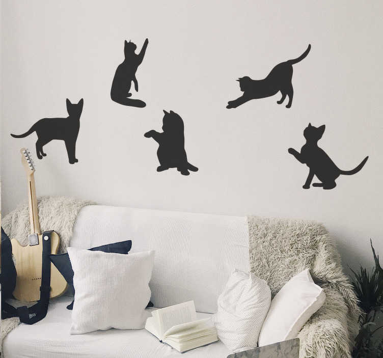 TenStickers. Dancing cats  wall decal. Easy to apply home wall decal created with cats in different dancing funny styles that you will love on the wall. It can be in any colour you prefer.