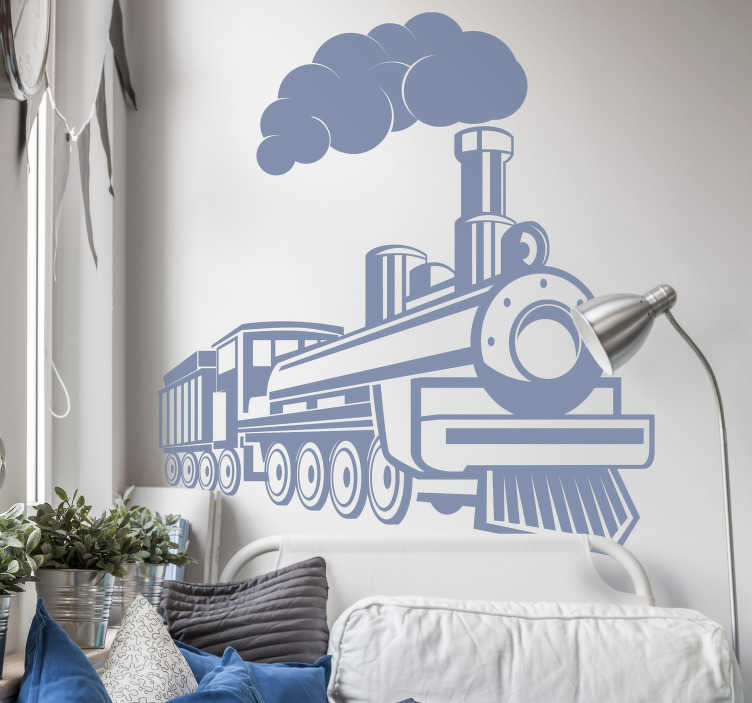 TenStickers. Steam locomotive vintage wall sticker. A decorative home wall decal of a steam locomotive with it stem engine and all visible parts in reveal. You can have the design in any colour.
