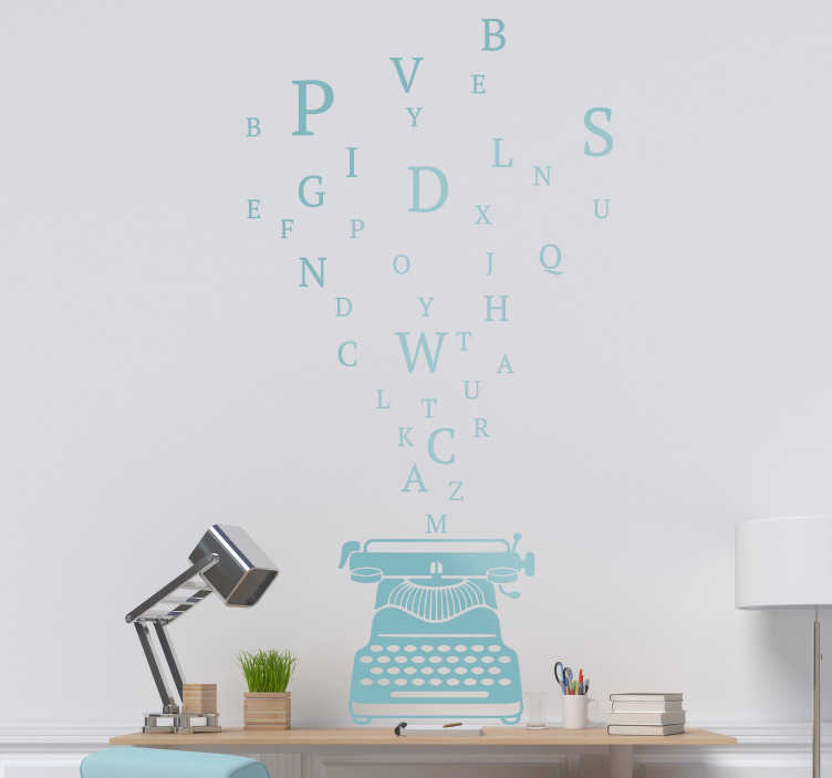 TenStickers. Typewriter object wall decal. A home wall decal design of a type writer with imputed letters to decorate your ling room or bedroom , the design can be in any colour and size.