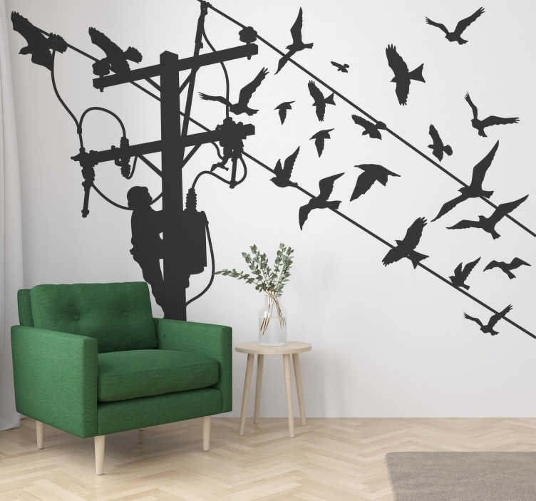 TenStickers. Light pole with birds bird decal. Buy our easy to apply and very decorative silhouette wall decal of a light pole with a person climbing it  and birds on the wire.