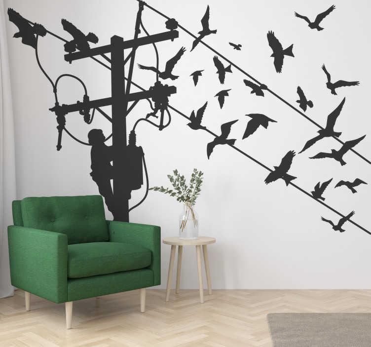 TenStickers. Lahka palica s ptičjimi ptičicami. Kupite naš enostaven nanos in zelo dekorativno nalepko za steno iz silhuete lahkega droga z osebo, ki jo pleza in pticami na žici.