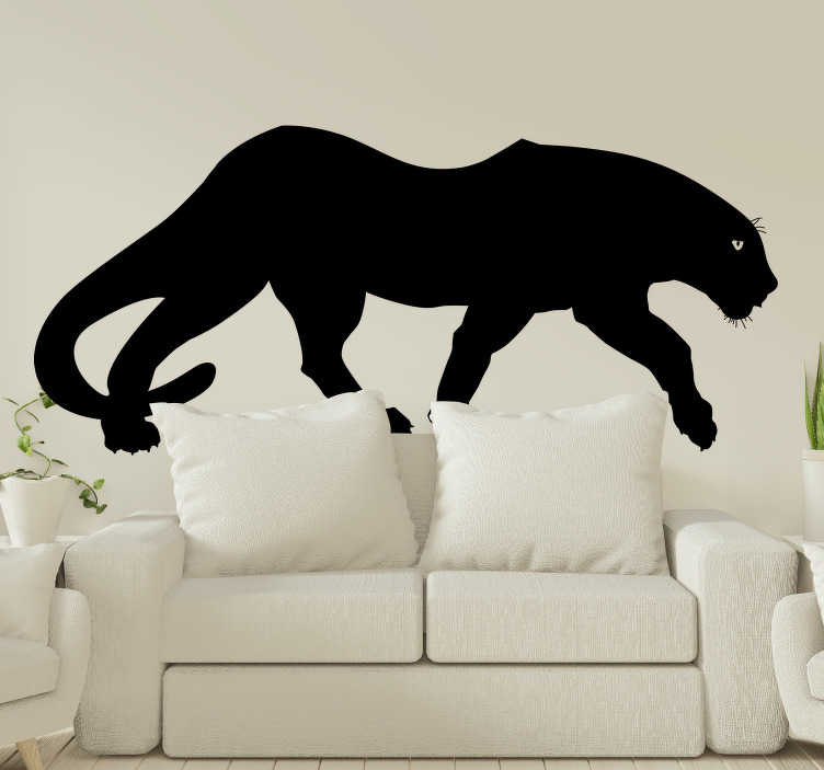 TenStickers. Black Panther wild animal sticker. Easy to apply adhesive animal wall decal design of a big black panther to decorate the living or bedroom surface. It can be in any colour and size.