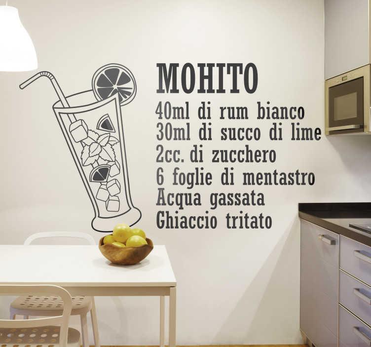 TenStickers. sticker  bevanda ricetta mojito. Adesivo murale facile da applicare per cucina creato con la ricetta del testo di una bevanda italiana mojito che sarà adorabile per decorare la cucina.