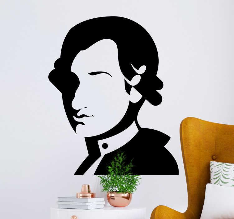 TenStickers. Mozart silhouet karakter wand decor. Koop onze gemakkelijk aan te brengen muziekkarakterkunst zelfklevende muursticker van mozart die geschikt is om elke ruimte in huis te decoreren. Je kunt het ook in elke kleur hebben