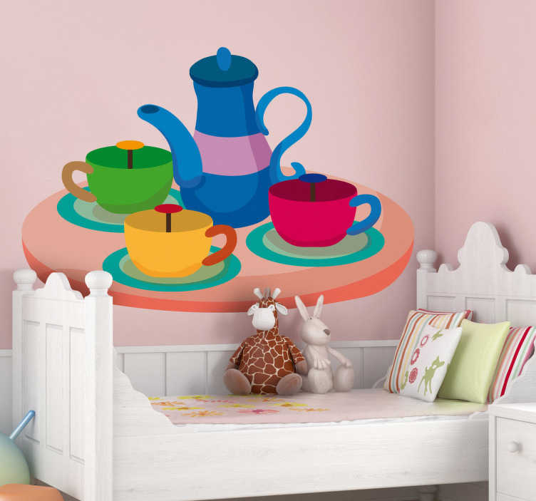 TenStickers. Kids Tea Set Wall Sticker. Kids Wall Stickers - Illustration of a tea set funfair ride.  Ideal for decorating areas for children. Available in various sizes.