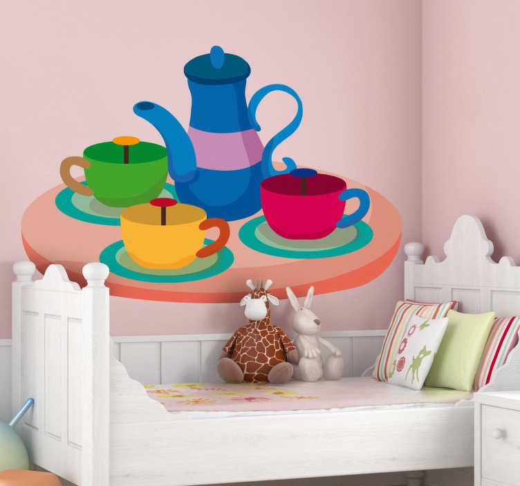 TenStickers. Sticker kinderkamer theepotten theekransje. Een leuke muursticker van een tafel met hierop een theepot met hierrond 3 tassen in verschillende heldere kleuren.