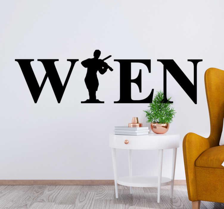 TenStickers. Wiener musik wandtattoo. Musik Wall Art Sticker der wiener stadt musik erstellt mit text und einer wandkunst einer person, die ein instrument spielt. Sie können das design in jeder farbe haben.