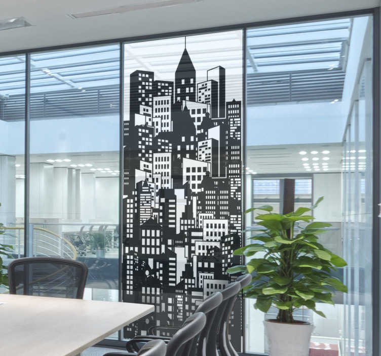 TenStickers. City skyline window film window decal. Buy our easy to apply decorative window vinyl sticker of a huge city skyline in pretty colour that will suite to apply on the window f an office.