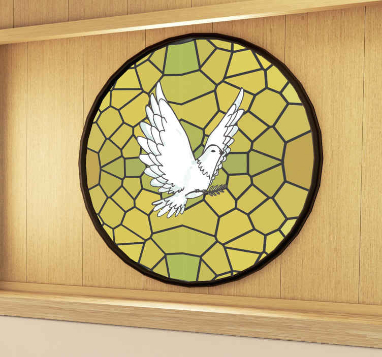 TenStickers. Dove stained glass window decal. A decorative window vinyl decal for business meeting room designed with a glass stain text with a dove. You can also apply i on any window surface.
