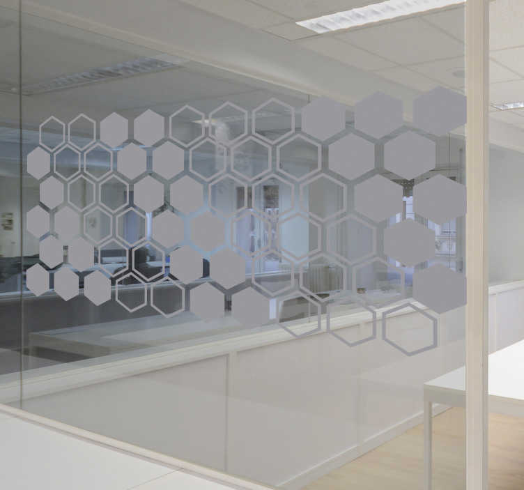 TenStickers. Frosted geometric hexagon window decal. Easy to apply window vinyl sticker designed with translucent geometric hexagonal forms that you can apply on the window of business meeting room.