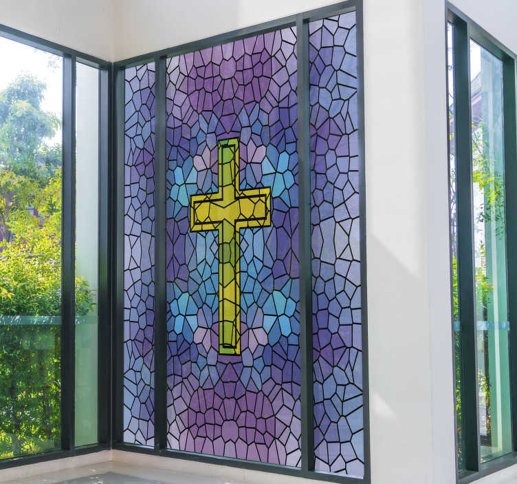 TenStickers. Holy Cross stained glass window decal. Easy to apply decorative glass stain of a holy cross window decal to beautify it, the design host a cross on a full geometric shape background.