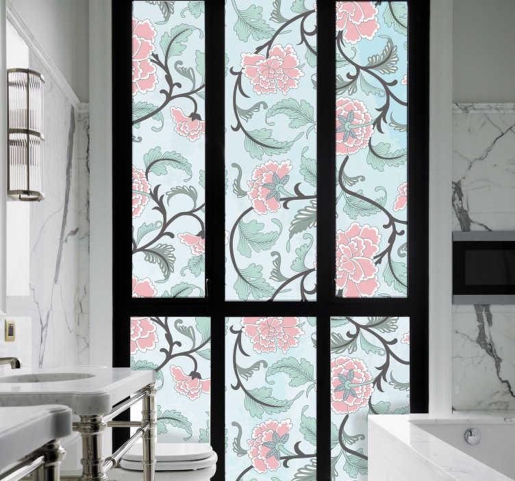 TenStickers. Japanische blumen fensterfolie aufkleber. Fenster Aufkleber einer japanischen blumenverzierung, die sie lieben, ihre fensteroberfläche zu verzieren. Einfach ohne luftblasen aufzutragen.