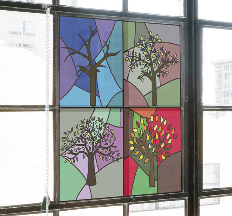 TenStickers. Stained glass seasons window decal. Easy to apply decorative window decal of glass stain season created with tree plants on a geometric colourful background.