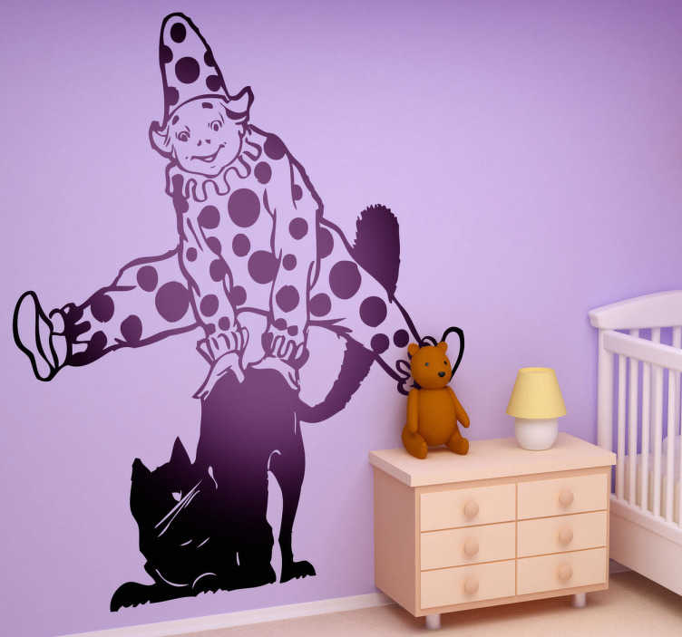 TenStickers. Clown Jumping Cat Wall Sticker. Kids Wall Stickers-Fun illustration of a clown jumping over a cat. Ideal for decorating areas for children.