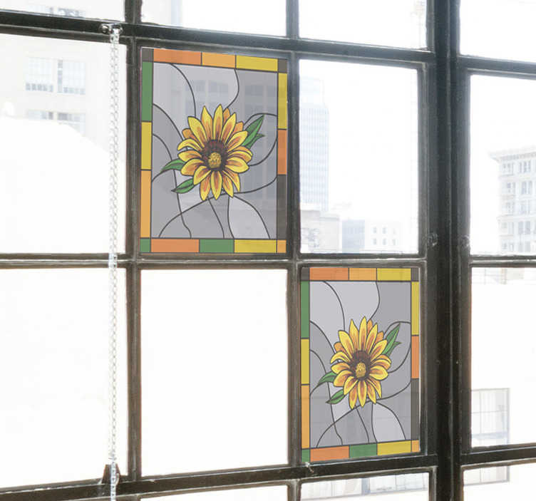 TenStickers. Sunflower window film window decal. Easy to apply window decal of sunflower created on a square frame shape that you will love. You can use it on the kitchen space window.