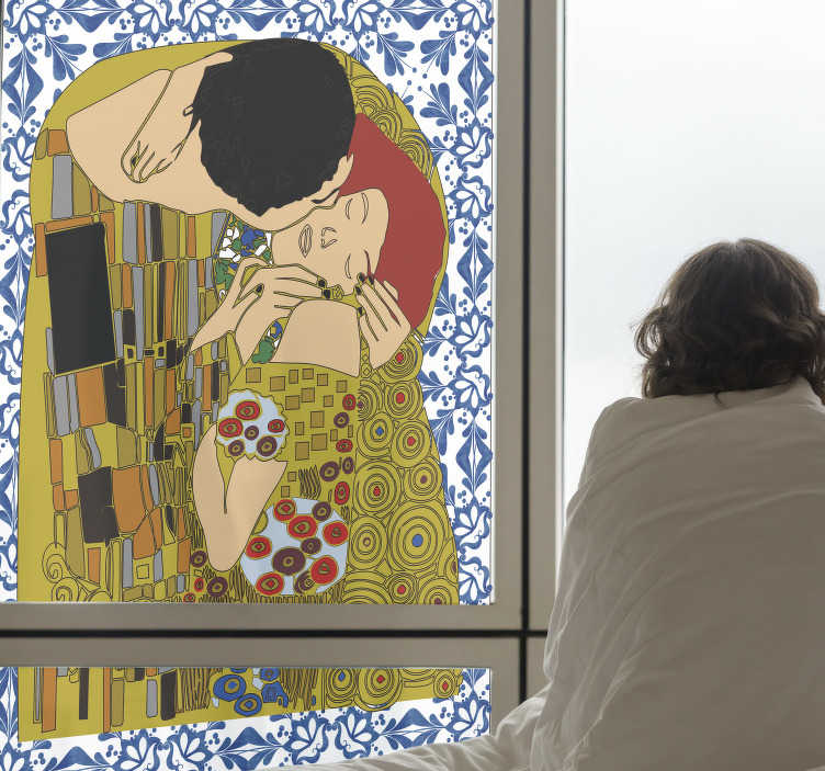 TenStickers. The Kiss stained glass window decal. Decorative window decal created with an art of stain kiss, the design features two people kissing with a lot of featured background art.