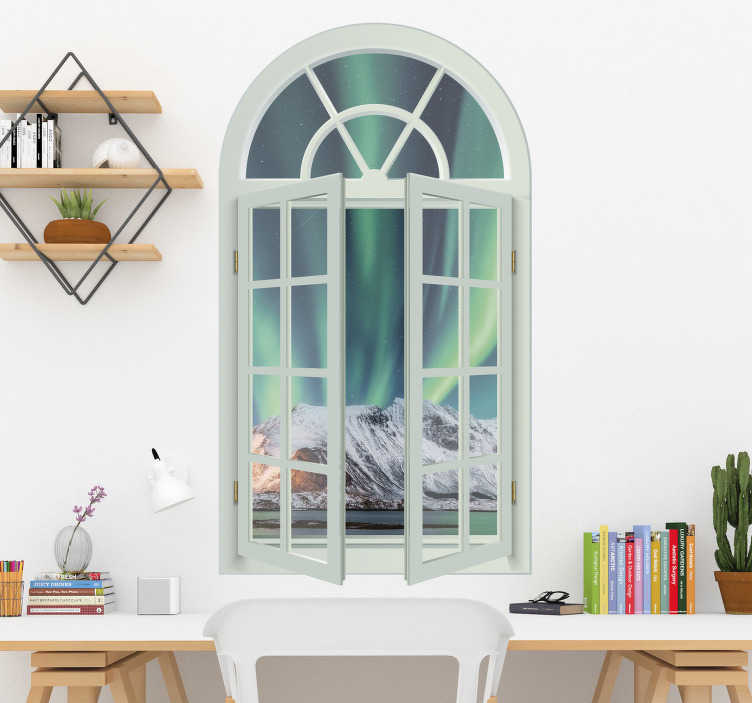 TenStickers. Norwegian landscape views visual effects wall decal. A visual effect wall location decal created with a window having view  of  a rock to describe nature on a green colour background that you will love.