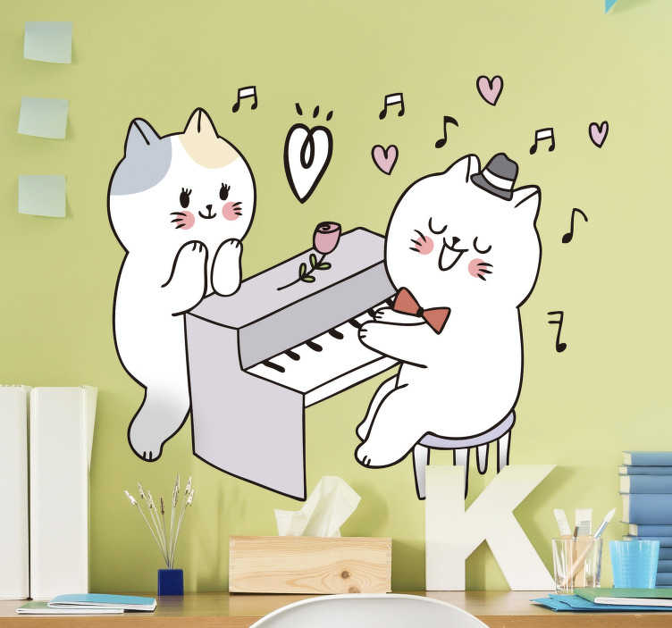 TenStickers. Cat playing piano music  wall decal. Easy to apply wall decal for kid's space created with two cats playing music with a piano and a rose by it side to show love for the child.