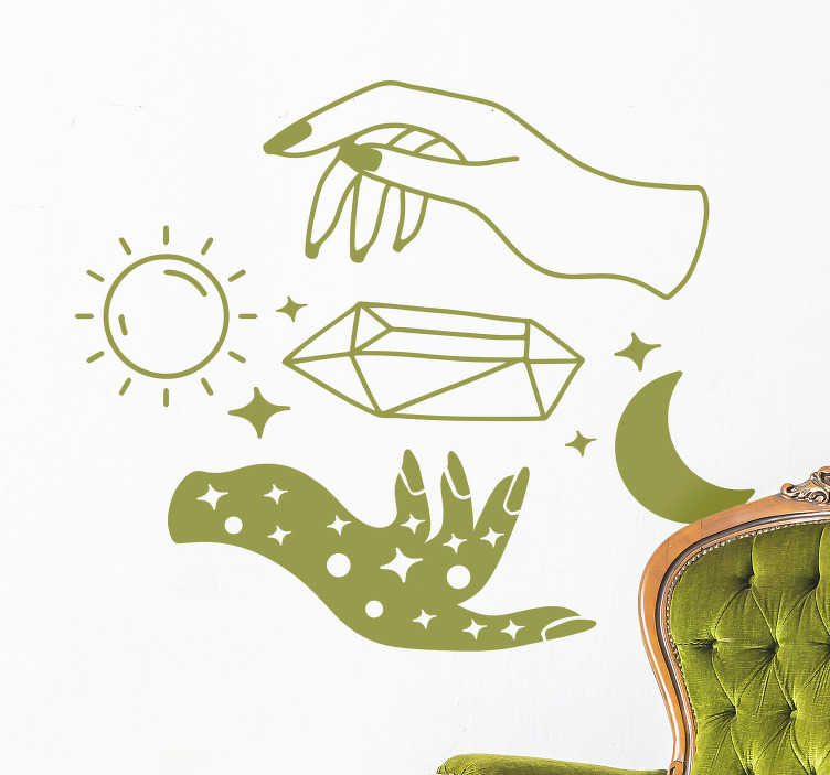 TenStickers. Art mural vinyle jour et nuit. Achetez notre art mural décoratif facile à appliquer de la représentation d'un jour et d'une nuit avec le soleil, la lune, les étoiles et deux mains face à face.