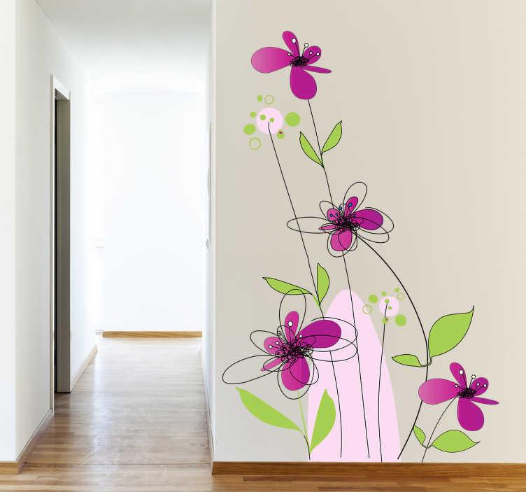 autocollant mural fleurs violettes