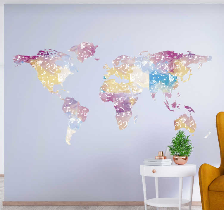 TenStickers. Musical instrument world map world map wall decal. Easy to apply home wall decal of a world map with music notes and instrument representation that will make a lovely appearance with style on the wall.