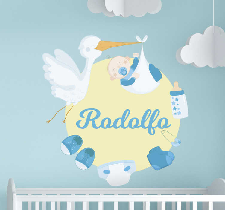 TenStickers. Personalizable  with stork baby wall sticker. Decorate the room of infant with our baby nursery wall decal designed  with a baby protected by a bird, a diaper,shoes, pin and  pacifier on it.