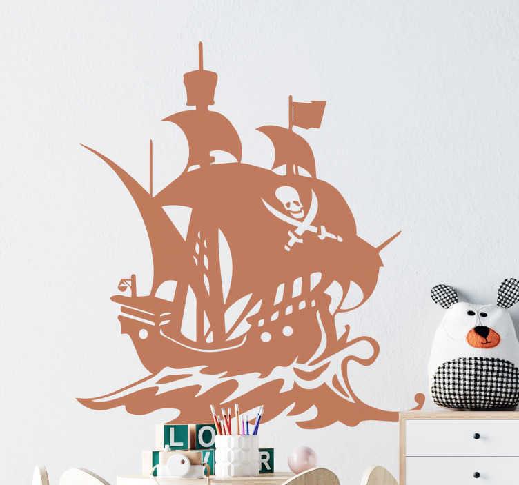 TenStickers. Bateau pirate enfants illustration art mural. Un stickers muraux décoratif bateau pirate illustration pour chambre d'enfant. Sur la conception est un navire sur la mer avec toutes ses fonctionnalités et un symbole de pirate.