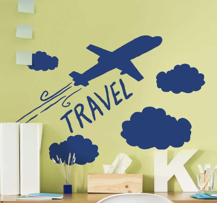 TenStickers. Flugzeug mit wolken illustration wandtattoo. Dekorieren sie die wand ihres kinder- oder jugendzimmers mit diesem wandaufkleber eines flugzeugs, das durch die wolke in der atmosphäre fliegt. Sie können die farbe wählen.