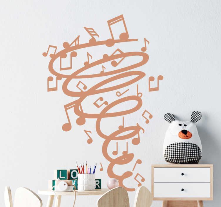 TenStickers. Twister music notes  musical sticker. Easy to apply adhesive wall sticker for kids and teens room that is created with music notes and a twist in an upward expended direction.