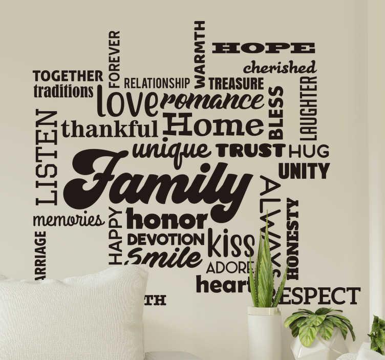 TenStickers. Naklejka z tekstem rodzina i szacunek. Naklejka z tekstem rodzina przedstawia tekst w kreatywnym stylu czcionki, który określa ważne wartości rodziny, takie jak szacunek, miłość, wdzięczność.