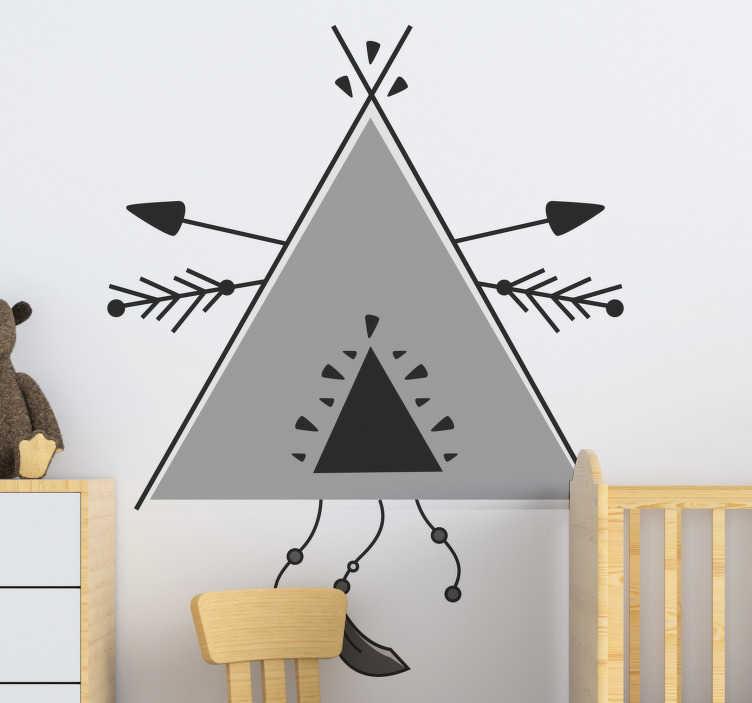 TenStickers. Geometric Teepee tent in grey scale wall sticker. Decorative illustration wall decal for infants and kids created with a teepee tent in grey triangular pattern that will be nice to decorate the room.