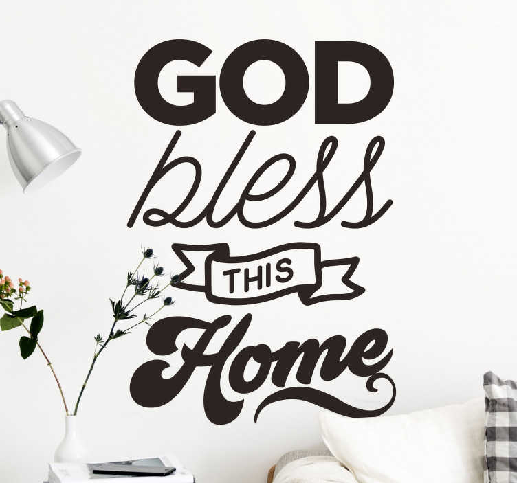 TenStickers. God bless this home  text wall decal. Home wall text sticker of  ''God bless this home'' the text design is created with nice and stylist font with special features. Easy to apply.