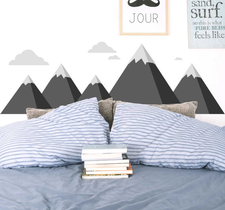 TenStickers. mountains and clouds  wall decal. Decorative bedroom wall decal of the mountain and cloud appearance of Scandinavian with the base of the mountain in black and the peak in grey.