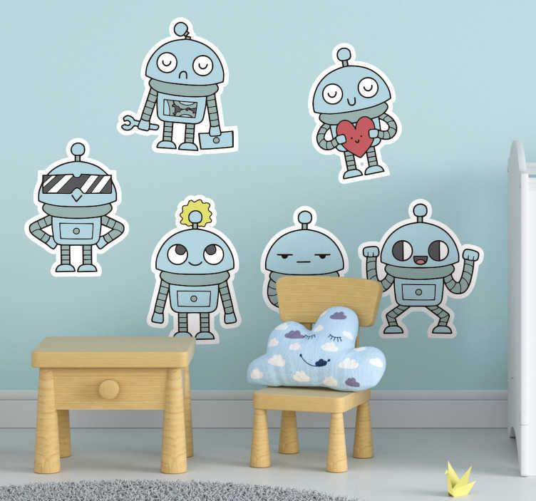 TENSTICKERS. ロボットは子供の寝室の壁のステッカーを詰める. 子どもたちが愛するさまざまな姿勢で立っているロボットと一緒にパックでロボットを設計した、子供の寝室用の粘着壁ビニールステッカー。