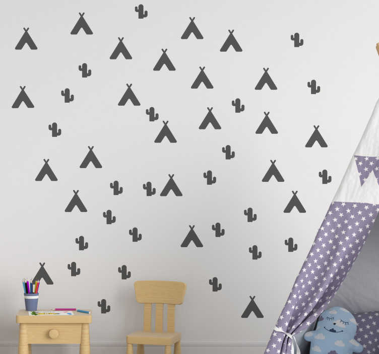 TenStickers. Teepee tent and Cactus sheet wall decal. Easy to apply and decorative children wall decal design of a teepee and a cactus sheet. You can have this illustration wall decal in any colour.