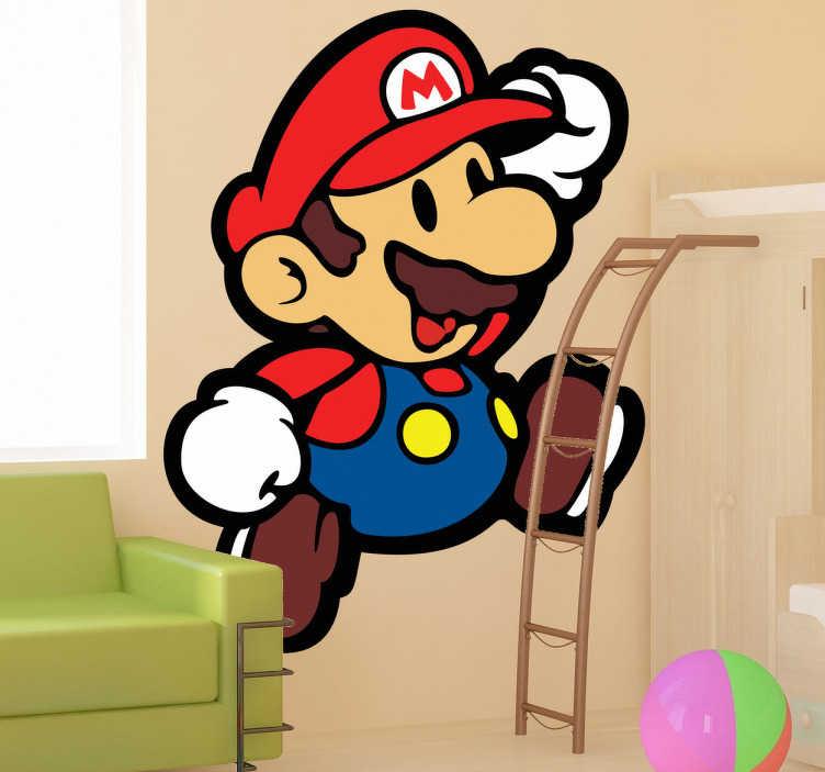 TenVinilo. Vinilo infantil Supermario. Adhesivo infantil con el protagonista del mítico videojuego Super Mario Bros. Un simpático hombre con bigote al que le gusta vivir aventuras.