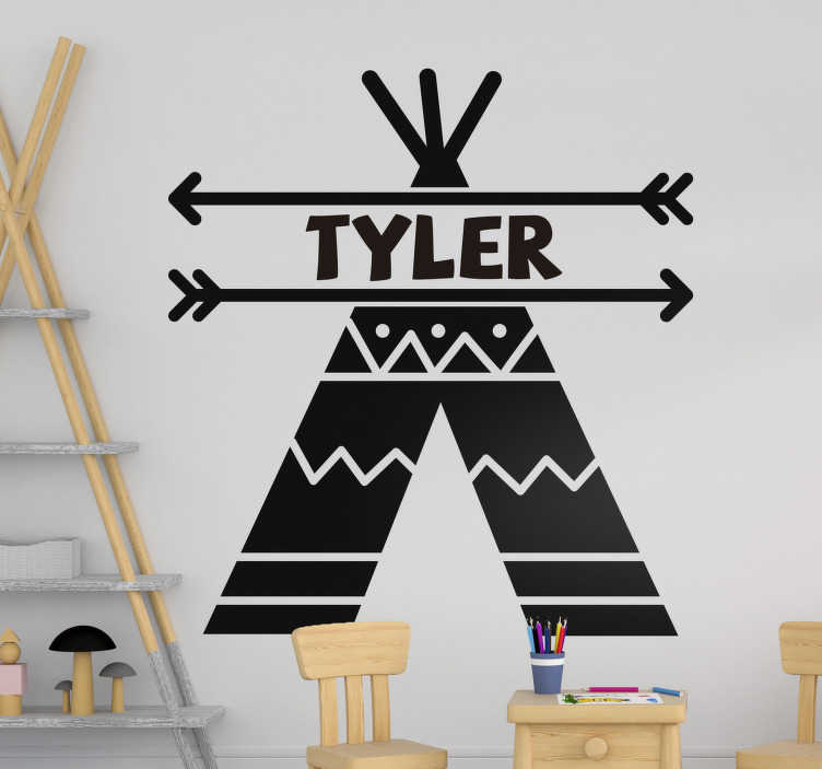 TenStickers. Teepee tent  Kids Bedroom Wall decal. Easy to apply customisable name wall decal for kids created with a teepee tent with two arrows that holds the name in position.