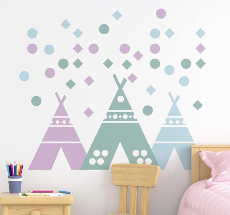 TenStickers. Tente tipi aux couleurs pastel stickers muraux chambre enfant. stickers muraux illustratif pour chambre d'enfant conçu avec une tente tipi dans des couleurs pastel. Avec le design, les enfants peuvent apprendre les formes, les tailles et les couleurs.