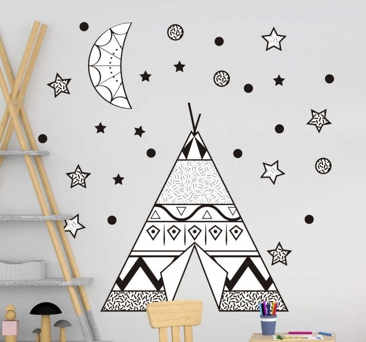 TenStickers. Teepee tent with stars and moon Childrens Bedroom Wall Sticker. Decorative wall sticker for kids room designed with a teepee tent with the stars, moon and dots that create the appearance of an atmospheric space.