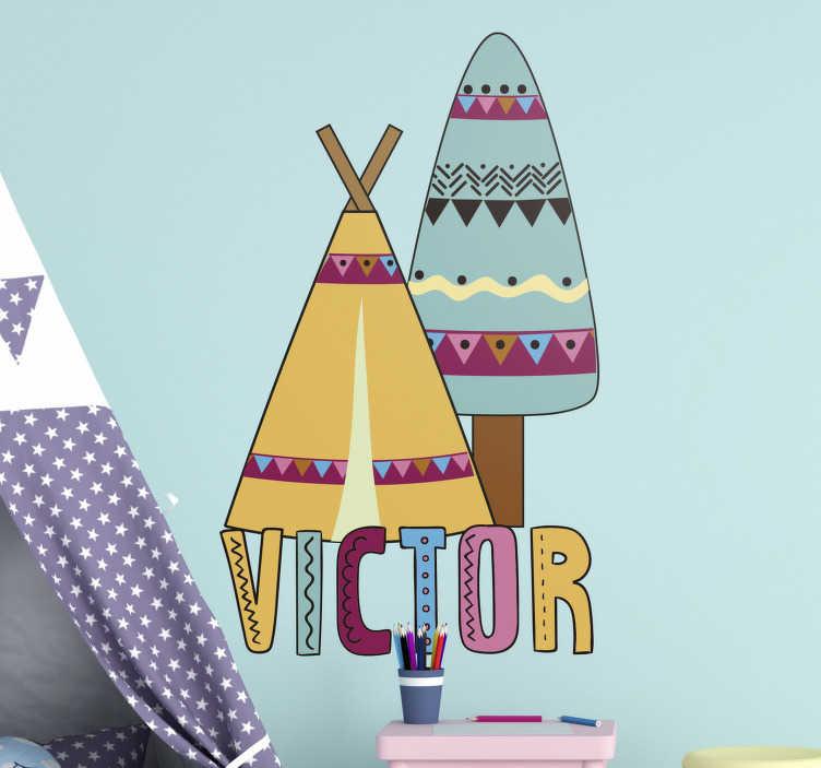 TenStickers. Tipi mit ihrem text Wandtattoo Kinderzimmer. Einfach anzubringender personalisierbarer namens Wandtattoo Kinder- und kleinkinderzimmer, entworfen mit einem tipi-zelt in schöner farbe, um die wandoberfläche zu verschönern.