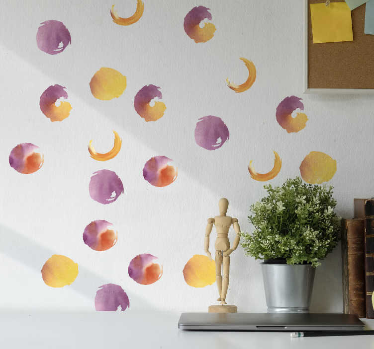 TenStickers. Watercolor Dots wall decor. Buy this adhesive easy to apply water colour dotted shapes to decorate the wall surface of your teen's room. Just chose the size you prefer.